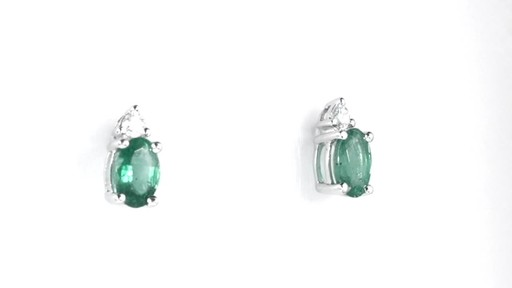 ZALES Oval Emerald and Diamond Accent Stud Earrings in 10K White Gold, Girl's, Size: regular - image 9 from the video
