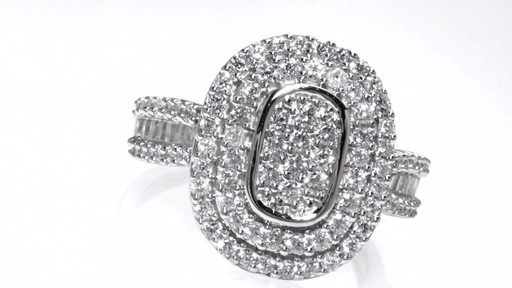 Diamond Double Oval Frame Ring in 10K White Gold 1 CT. T.W. ...