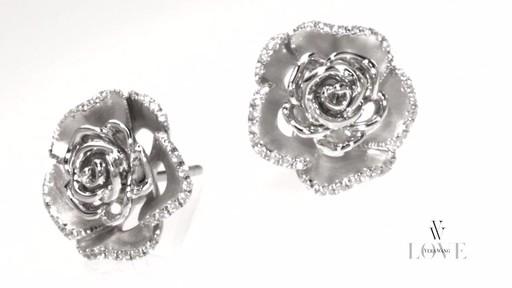 Diamond Rose Stud Earrings In Sterling Silver Vera Wang
