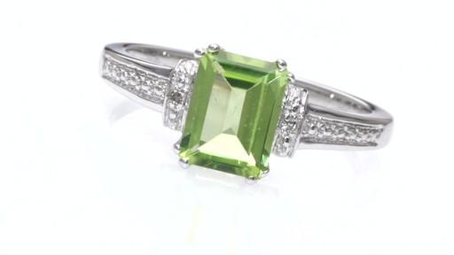 ZALES Emerald Cut Peridot and Diamond Accent Collar Ring in 10K White Gold W