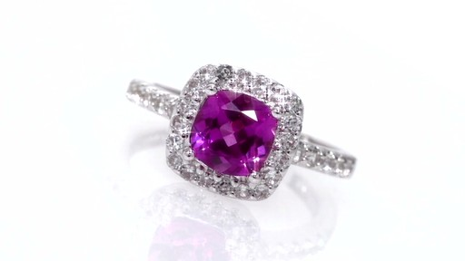 Cushion Cut Lab Created Pink And White Sapphire Ring In
