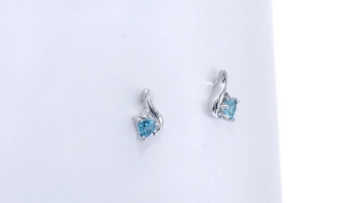 Trillion-Cut Blue Topaz and Diamond Accent Swirl Drop Earrings in 10K White Gold, Women's, Size: regular ZALES 4.0mm - image 1 from the video