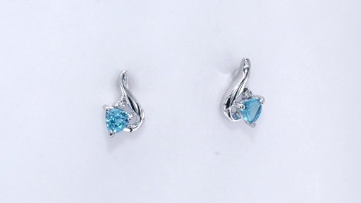 Trillion-Cut Blue Topaz and Diamond Accent Swirl Drop Earrings in 10K White Gold, Women's, Size: regular ZALES 4.0mm - image 10 from the video