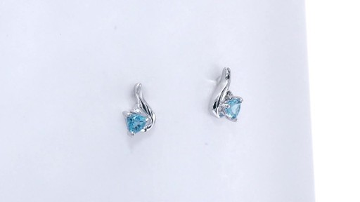 Trillion-Cut Blue Topaz and Diamond Accent Swirl Drop Earrings in 10K White Gold, Women's, Size: regular ZALES 4.0mm - image 2 from the video