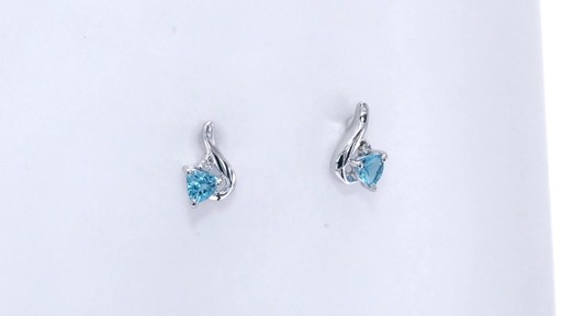 Trillion-Cut Blue Topaz and Diamond Accent Swirl Drop Earrings in 10K White Gold, Women's, Size: regular ZALES 4.0mm - image 3 from the video