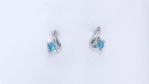 Trillion-Cut Blue Topaz and Diamond Accent Swirl Drop Earrings in 10K White Gold, Women's, Size: regular ZALES 4.0mm - image 4 from the video