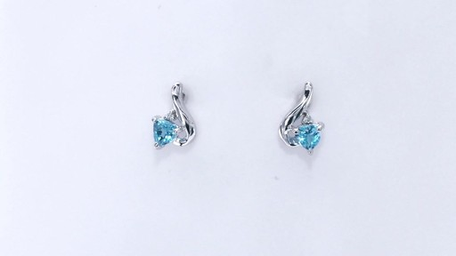 Trillion-Cut Blue Topaz and Diamond Accent Swirl Drop Earrings in 10K White Gold, Women's, Size: regular ZALES 4.0mm - image 5 from the video