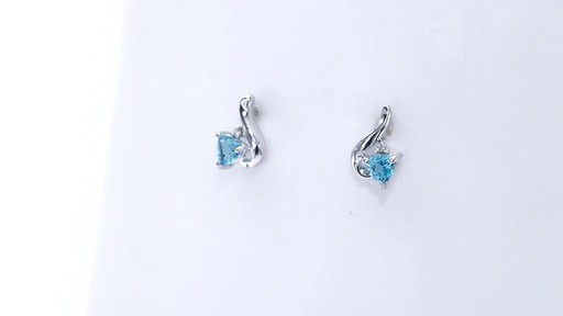 Trillion-Cut Blue Topaz and Diamond Accent Swirl Drop Earrings in 10K White Gold, Women's, Size: regular ZALES 4.0mm - image 6 from the video