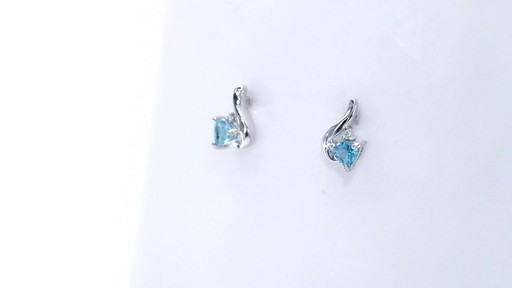 Trillion-Cut Blue Topaz and Diamond Accent Swirl Drop Earrings in 10K White Gold, Women's, Size: regular ZALES 4.0mm - image 7 from the video