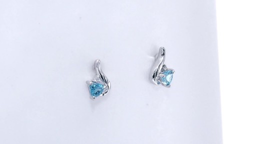 Trillion-Cut Blue Topaz and Diamond Accent Swirl Drop Earrings in 10K White Gold, Women's, Size: regular ZALES 4.0mm - image 8 from the video
