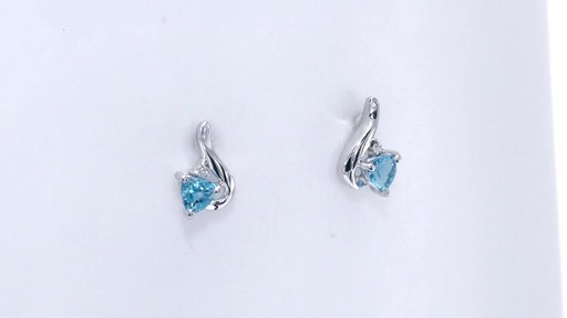 Trillion-Cut Blue Topaz and Diamond Accent Swirl Drop Earrings in 10K White Gold, Women's, Size: regular ZALES 4.0mm - image 9 from the video
