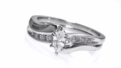 Marquise Diamond Bypass Bridal Set In 10k White Gold 1 2