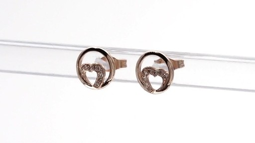 Diamond Accent Heart Circle Stud Earrings in 10K Rose Gold - image 4 from the video