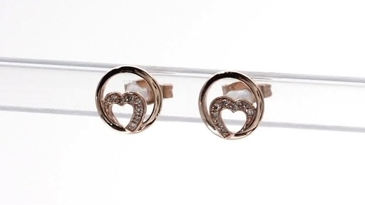 Diamond Accent Heart Circle Stud Earrings in 10K Rose Gold - image 5 from the video