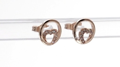 Diamond Accent Heart Circle Stud Earrings in 10K Rose Gold - image 7 from the video