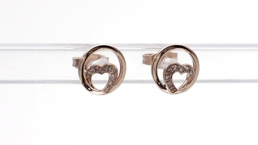 Diamond Accent Heart Circle Stud Earrings in 10K Rose Gold - image 8 from the video