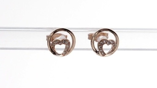 Diamond Accent Heart Circle Stud Earrings In 10k Rose Gold