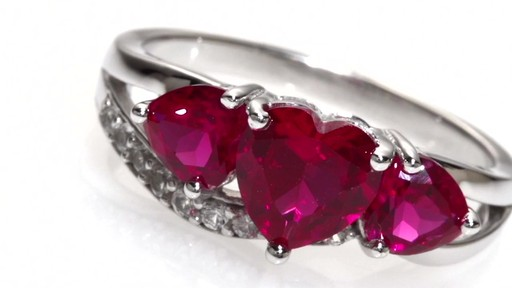 Zales Heart Shaped Lab Created Ruby And White Sapphire