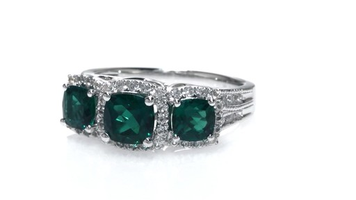 Cushion Cut Lab Created Emerald And White Sapphire Frame
