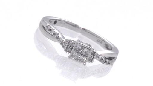 Princess Cut Quad Diamond Wave Promise Ring in 10K White Gold Shop Zales