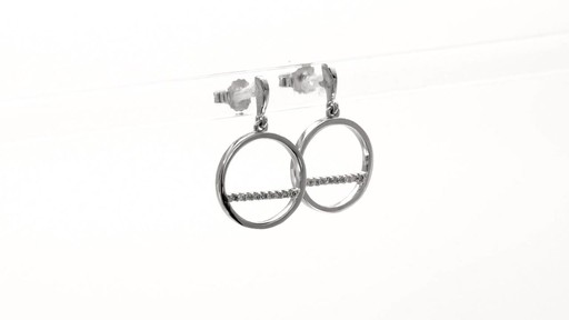 Diamond Accent Horizontal Bar and Circle Drop Earrings in 10K White Gold - image 2 from the video