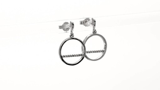 Diamond Accent Horizontal Bar and Circle Drop Earrings in 10K White Gold - image 3 from the video