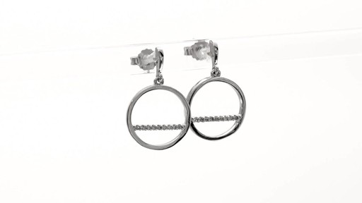 Diamond Accent Horizontal Bar and Circle Drop Earrings in 10K White Gold - image 4 from the video