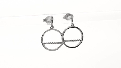 Diamond Accent Horizontal Bar and Circle Drop Earrings in 10K White Gold - image 5 from the video