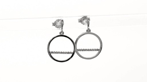 Diamond Accent Horizontal Bar and Circle Drop Earrings in 10K White Gold - image 6 from the video