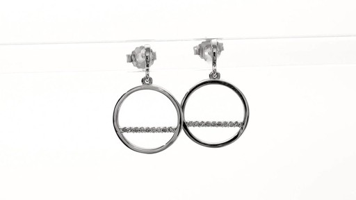 Diamond Accent Horizontal Bar and Circle Drop Earrings in 10K White Gold - image 7 from the video