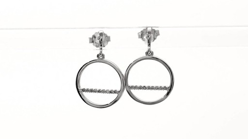 Diamond Accent Horizontal Bar and Circle Drop Earrings in 10K White Gold - image 8 from the video