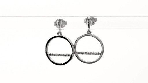 Diamond Accent Horizontal Bar and Circle Drop Earrings in 10K White Gold - image 9 from the video