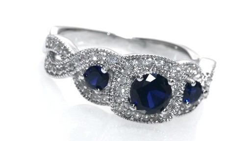 ZALES Lab Created Blue and White Sapphire Frame Three Stone Ring in Sterling