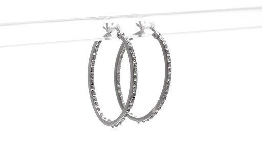 19dd3a393 Sterling Silver Diamond Fascination Inside Out Hoop Earrings with Platinum  Plate by Zales - image 2