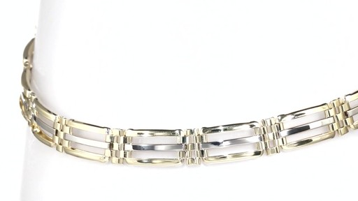 Zales Men S Open Square Bar Bracelet In 10k Two Tone Gold
