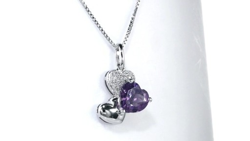 Zales 8.0mm Heart-Shaped Amethyst and Diamond Accent Triple Heart Pendant in Sterling Silver TLVGd
