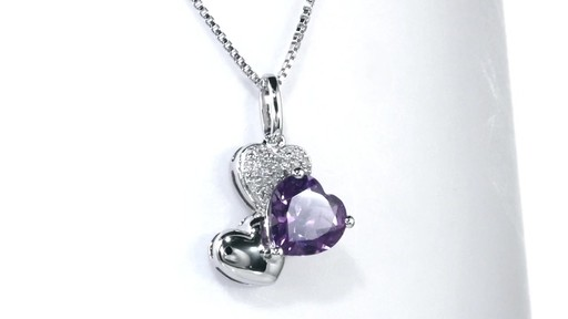 Zales 8.0mm Heart-Shaped Amethyst and Diamond Accent Triple Heart Pendant in Sterling Silver iECTfDGd