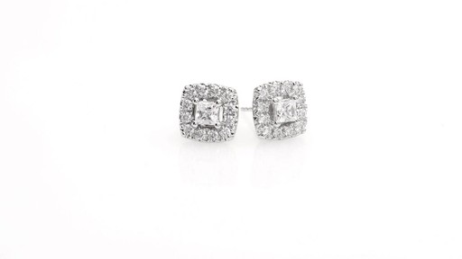 Princess-Cut Diamond Frame Stud Earrings in 10K White Gold 1 - image 1 from the video