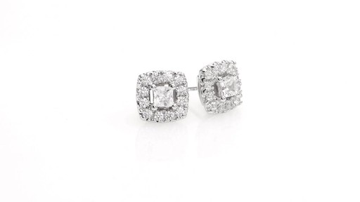 Princess-Cut Diamond Frame Stud Earrings in 10K White Gold 1 - image 10 from the video