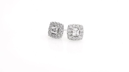 Princess-Cut Diamond Frame Stud Earrings in 10K White Gold 1 - image 2 from the video