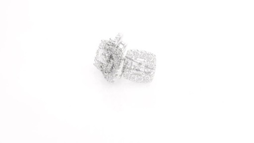 Princess-Cut Diamond Frame Stud Earrings in 10K White Gold 1 - image 3 from the video