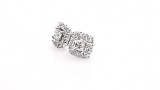 Princess-Cut Diamond Frame Stud Earrings in 10K White Gold 1 - image 5 from the video