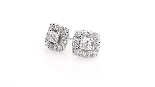 Princess-Cut Diamond Frame Stud Earrings in 10K White Gold 1 - image 6 from the video