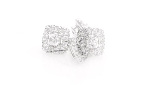 Princess-Cut Diamond Frame Stud Earrings in 10K White Gold 1 - image 7 from the video