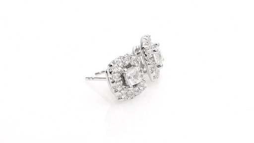 Princess-Cut Diamond Frame Stud Earrings in 10K White Gold 1 - image 8 from the video