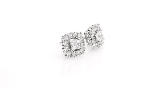 Princess-Cut Diamond Frame Stud Earrings in 10K White Gold 1 - image 9 from the video