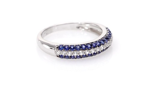 Lab Created Blue And White Sapphire Triple Row Band In