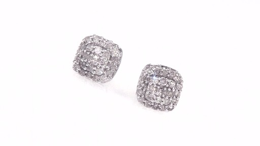 Diamond Square Cluster Stud Earrings In 10k White Gold 1 2