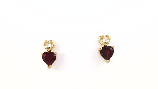 Zales Heart Shaped Garnet And Diamond Accent Pendant Earrings Set In Sterling Silver With
