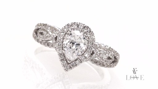 Pear Shaped Diamond Vintage Style Ring In 14k White Gold